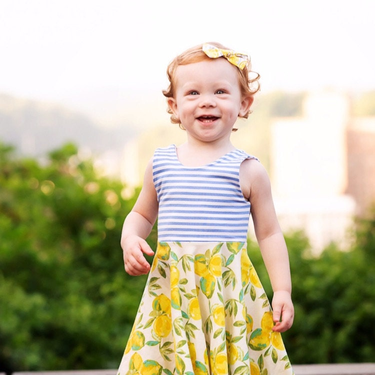 Baby girl Lemon Botanical Stripe Dress 3-6 Month babies to 3t Toddler Girls
