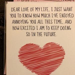 4e05feb82 Love of my life Card Anniversary Card I love you card