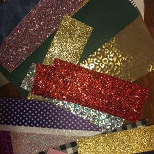 REMNANTS: Glitter remnants,glitter sheet remnants,leather remnants,faux leather remnants,faux leather sheets,glitter sheets,hairbow material photo