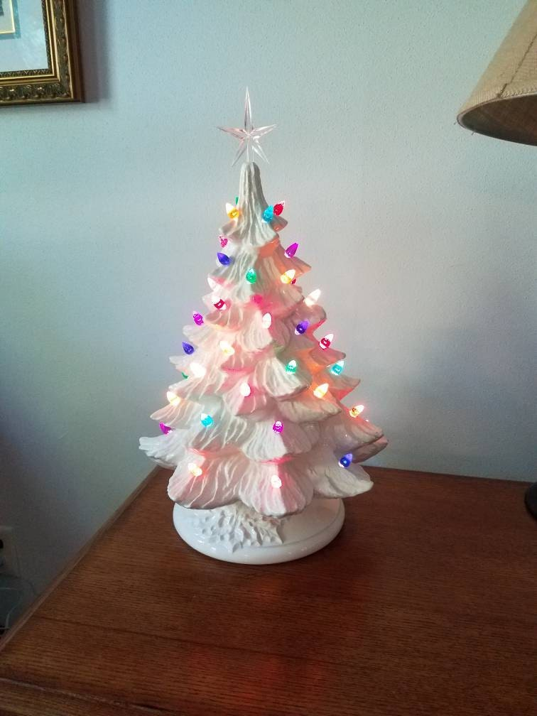Large White Ceramic Christmas Tree 18 Inch Tall Color Lights And