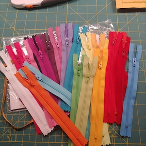7 Inch Zippers YKK Brand (25) Pieces Mix and Match red orange yellow green blue purple pink black white brown gray photo