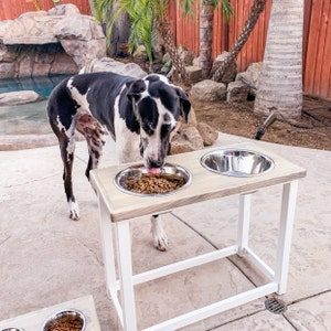 Elevated dog feeding table for Large or Extra Large size dog  Great Dane  bowl stand  Feeding station with 2 bowls  Pet food bowl stand
