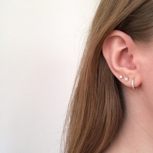 Flower Stud Earrings • CZ dainty earrings • minimalist earrings • star gold earrings • tiny studs • minimalist earrings • mothers day gift photo