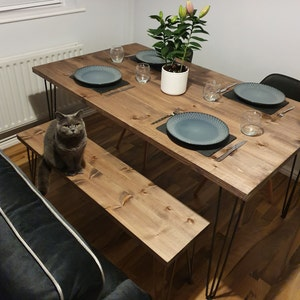 ARTEMIS Handmade Hairpin Leg Table with Two Benches and Two Chairs Industrial London Free Delivery