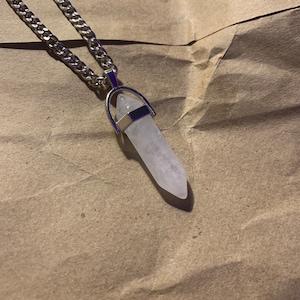 Crystal Necklace, Crystal Point Necklace, Crystal Choker, Crystal Pendant Necklace, Crystal Pendulum, Opalite necklace, Crystal Pendant photo