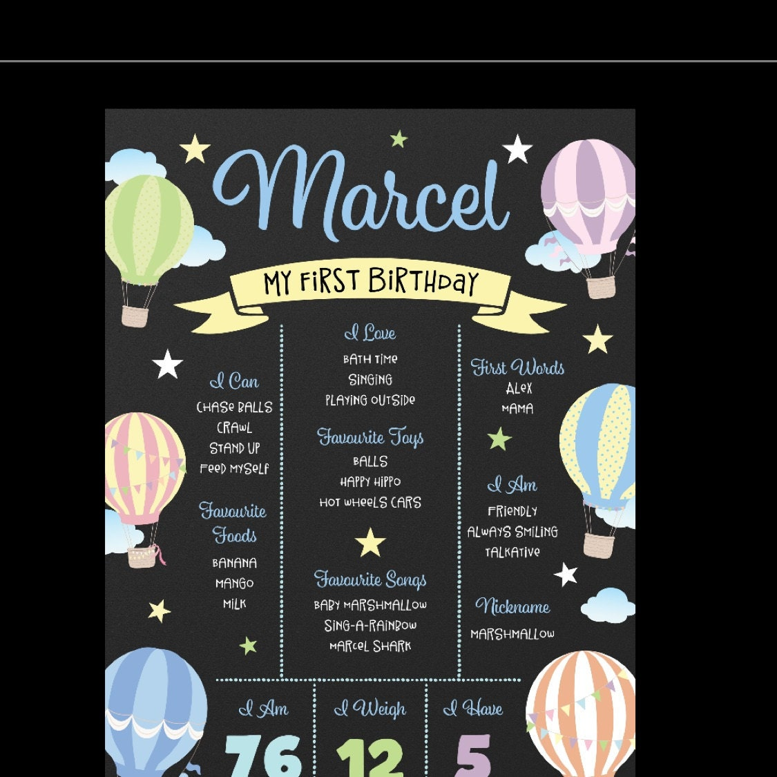 First birthday poster, first birthday sign, hot air balloons