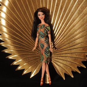 Lovely Aztec print Handmade for Barbie Doll dress Silkstone Model shoe Curvy 22