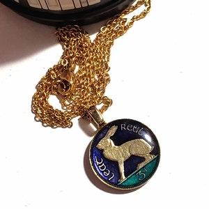 Gold Jewellery Animal Pendant. Dune Gazelle Pendant from UAE Hand Enamelled Necklace