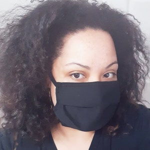 Free Shipping US, Face Mask, Reusable Face Mask, Black Face Mask,Adult Face Mask, Cotton Face Cover, Washable Face Mask, Made in the USA photo