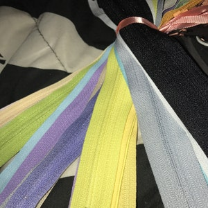 Your Choice Of 25 9 Inch YKK Zippers Mix and Match red orange yellow green blue purple pink brown black white grey photo