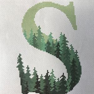 Cross Stitch Pattern Monogram Northern Lights Letter M Customizable Night Sky Cross Stitch Design Nature Embroidery Family Name PDF M-M-001