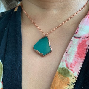 Teal Art Sea Glass and Algae Pendant Necklace Ocean Inspired Silver and Copper Electroformed Jewelry