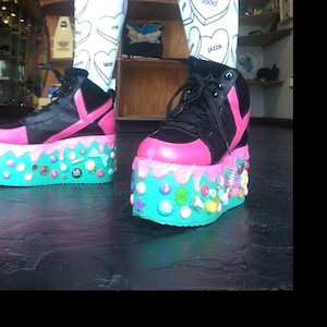 259f987a4a287 Candyholic drippy platforms cupcake candy custom made shoes,  Kawaii,cute,harajuku, alternative,decora, flatforms,edm