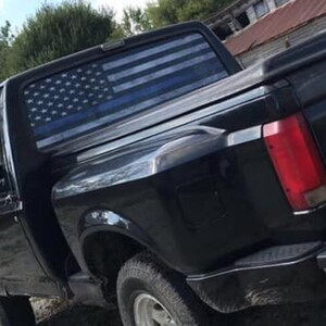 Truck Back Window Decals >> Truck Rear Window Decal Thin Blue Line American Flag Perforated Vinyl Universal