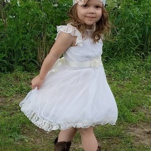black white and ivory The Emma Elizabeth Lace Flower Girl Dress for toddlers and girls from 2-12 years old peach