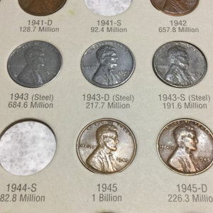 Complete Set 1943 World War 2 Steel Wheat Pennies / All 3 Mints (P,D,S) /  WWII / WW2 / Old Coins