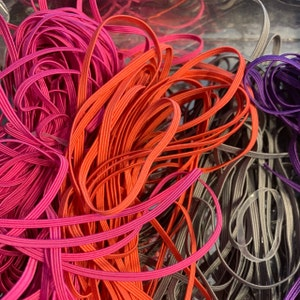 10 Yards 1/8 inch Elastic - You choose colors - Skinny Elastic - Elastic by the yard - Thin Elastic - DIY - Elastic for Face Mask photo