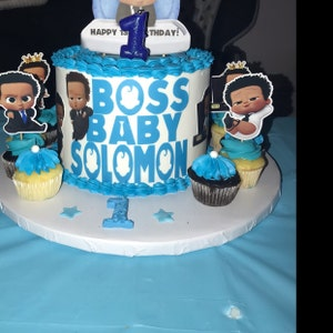 African American Boss Baby Cupcake Toppers Light Skinned Boss Baby Mixed Boss Baby Party Supplies