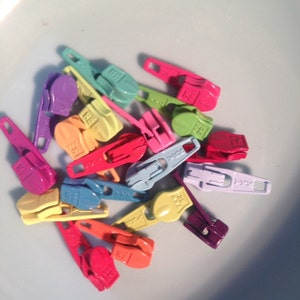 YKK Zipper Heads - 3mm - Loose Pulls to use in sewing, jewelry, etc.- Choice of brights, neutrals, or mix photo