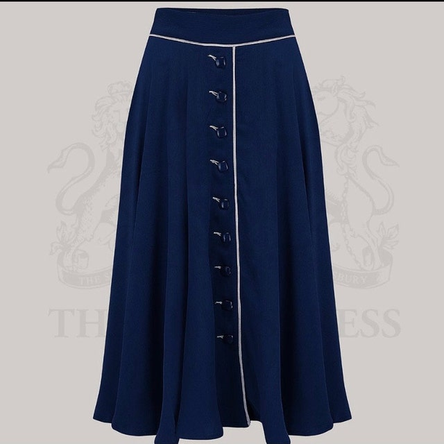 1940s Style Skirts- Vintage High Waisted Skirts     Read the full title    Rita Skirt in Navy by The Seamstress of Bloomsbury | Authentic Vintage 1940s Style $69.58 AT vintagedancer.com