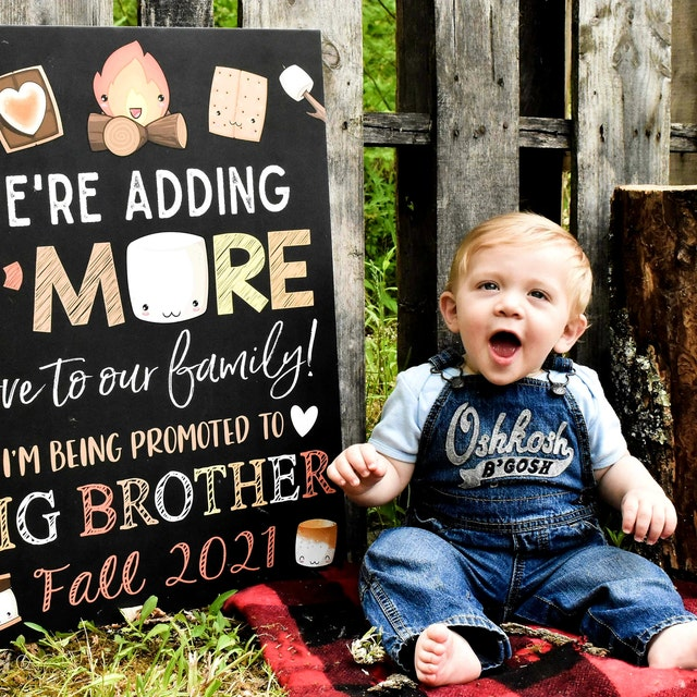 Big Brother or Sister Pregnancy Announcement Fall Camping