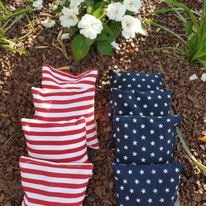 ACA REGULATION Cornhole Bag Set of 8 Hawaiian Hibiscus and Red and White Diagonal Stripes