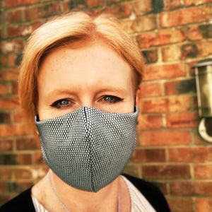 Face Covering with Filter Pocket & Nose Wire, face mask washable, Triple Layer facemask, Handmade, Snug fit + Donation photo