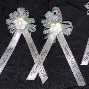 Silver and Gold finished all colors . 60 Personalized purple Ribbon