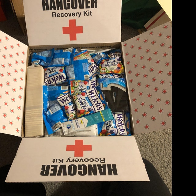 funny hangover recovery kit care package for a college student