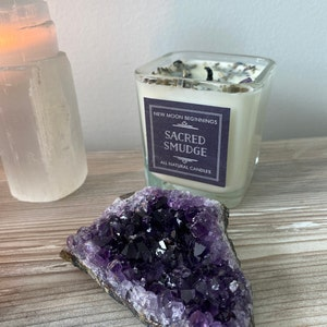 Sacred Smudge Candles - Crystal & Herb Candles - Energy clearing - Aromatherapy Candles - soy candle - Tealight Candles Lavender Sage Cedar photo