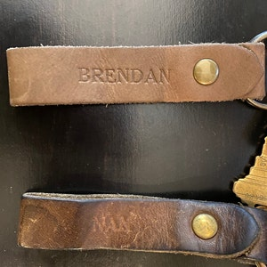 Personalized Leather Keychain. Custom Leather Keychain. Monogrammed Leather Keychain. Handmade in USA. Gold and Silver Foil Available. Fob. photo