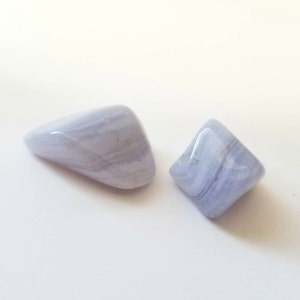 """Blue Lace Agate Stone (0.5"""" - 1.5"""") Grade A tumbled stone - blue lace agate tumbled - throat chakra stones - healing crystals and stones photo"""