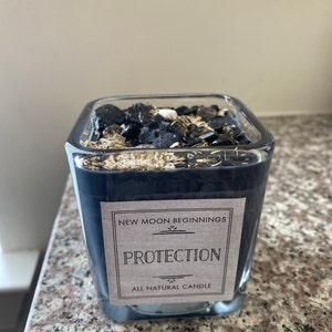 Protection Candle - Energy Cleansing - Crystal & Herb Candles - Protection crystal candle - Aromatherapy Candles - soy candle - black candle photo