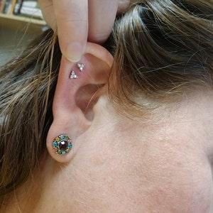 Flower Cartilage Gold Stud Earrings • conch earrings • tiny stud earrings •  cartilage stud • helix stud • tragus stud earrings • screw back photo