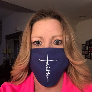 Face Mask with Filter Pocket | FAITH Screen Print | Cotton Blend Washable & Reusable | Made in USA by Tough Cookie ToughCookieClothing photo