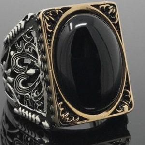 Womens Sterling Silver Natural Oval Black Onyx Gemstone Handmade Drop Earrings Elegant Gift Box