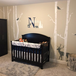 bed in a wall design woodland bedroom decor forest themed.htm birch tree wall decal nursery tree wall decals w deer in etsy  birch tree wall decal nursery tree wall
