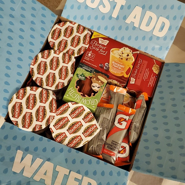 """just add water"" college care package idea with food that just need water to make them"