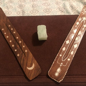 Moon and Stars Incense Burner - White inlay Stars and moon incense burner - wooden incense holder - incense stick holder- stick incense photo