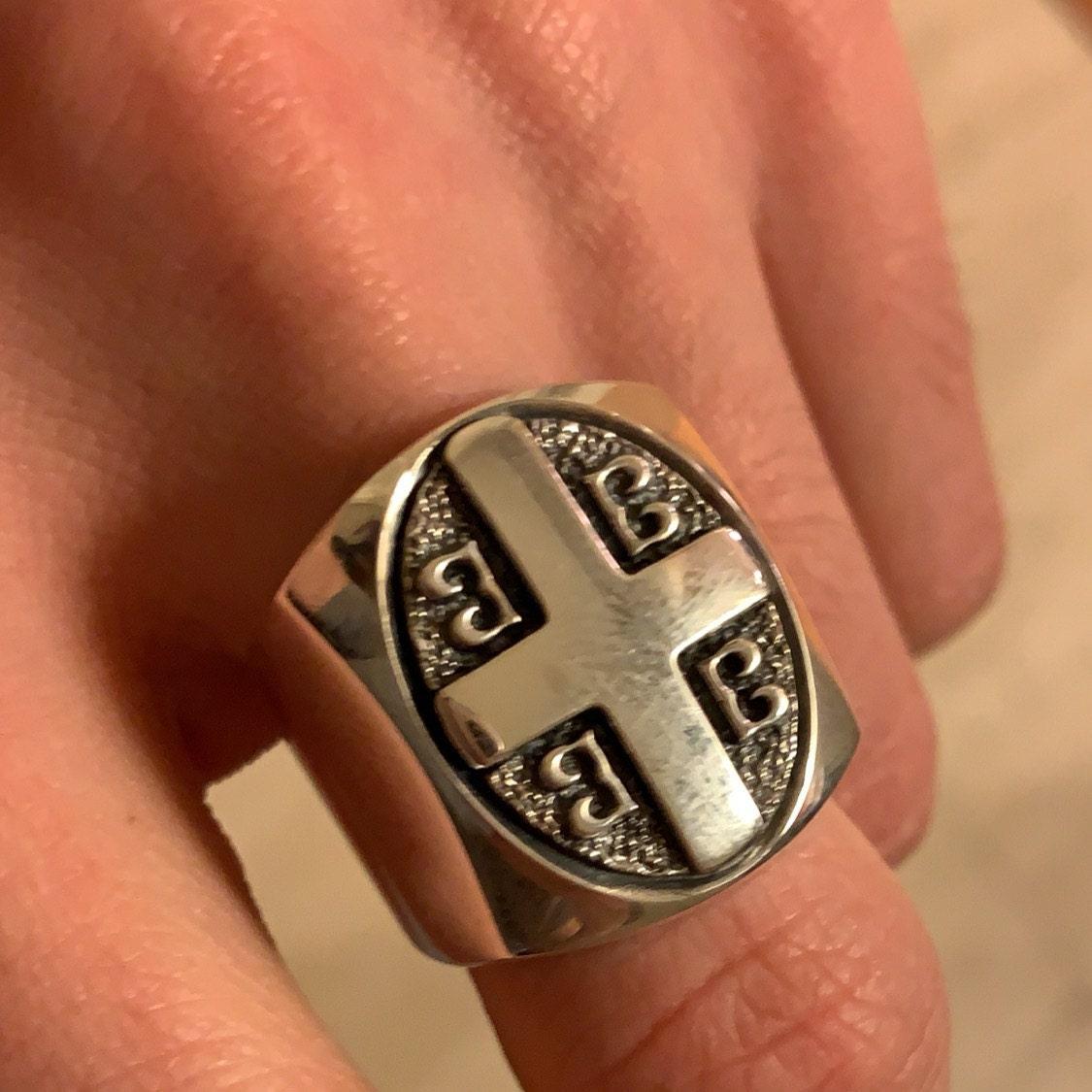 Imperial Cross Byzantine Paleologos Emblem Ring, Emperor
