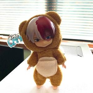 Handmade Nendoroid Clothes Obitsu 11 BJD Pink Sakura Bear Onesie