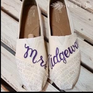 8adfa0b5f075 Custom Painted Bridal Wedding TOMS Shoes Free Shipping