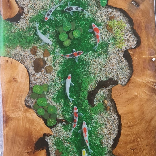 Blue river resin dining table top with epoxy inlay burl wood