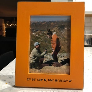Location Frame Vertical or Horizontal Orientation Personalized Coordinates Frame Custom Engraved in Vintage COLOR of YOUR CHOICE