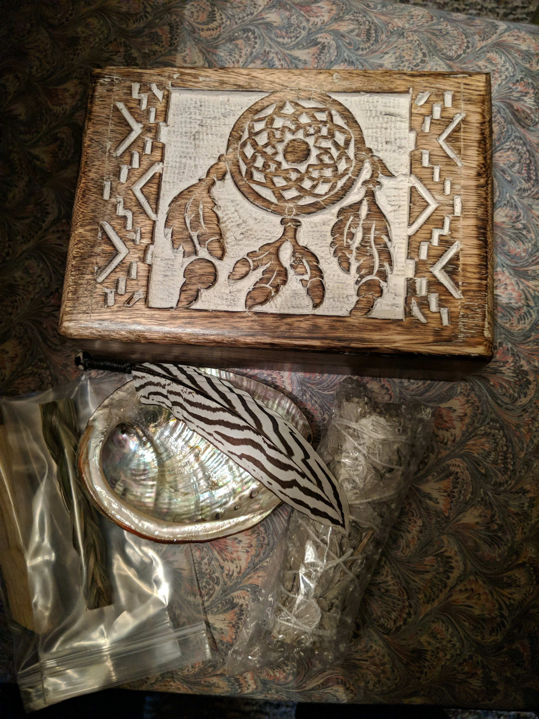 Dreamcatcher Boxed Smudge Kit - Hand Carved Box - White Sage