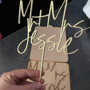 Gold Mr and Mrs Cake Toppers for Wedding by Rawkrft - Custom Cake Topper Personalized - Wedding Cake Topper - Birthday Anniversary Baptism photo