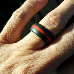 Thin Red Line Firefighter Silicone Wedding Ring Band Heat Etsy