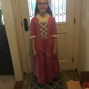 Pioneer Field Trip Mob Cap--Bright Pink  Fuchsia Dress- Hamilton Era Wax Museum Williamsburg Size 6 Girls Colonial Costume  Dress