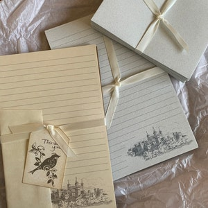 letter writing set fine stationery set lined or unlined hand written letters Morning Glory 8.5 x 5.5 inches corner border 30 pieces