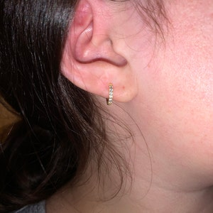 Huggie Hoop Earrings • gold conch hoop • cartilage hoop • hoop earrings • silver pave ring hoop • tragus hoop • small helix hoop photo